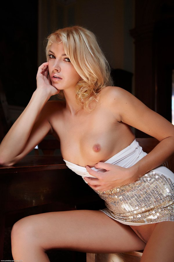 Blonde-small-tits-dress-sequin
