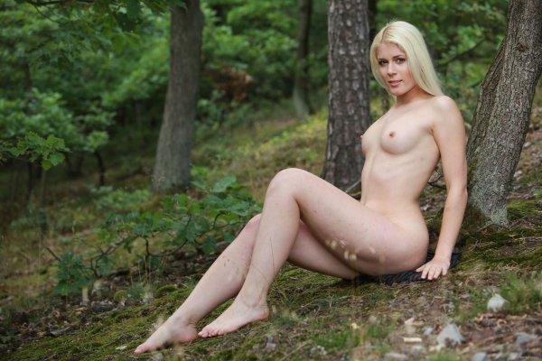 Красивая эротика блондинки в лесу