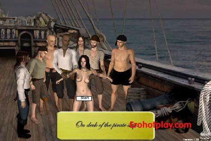 Изнасилование пленницы командой пиратов