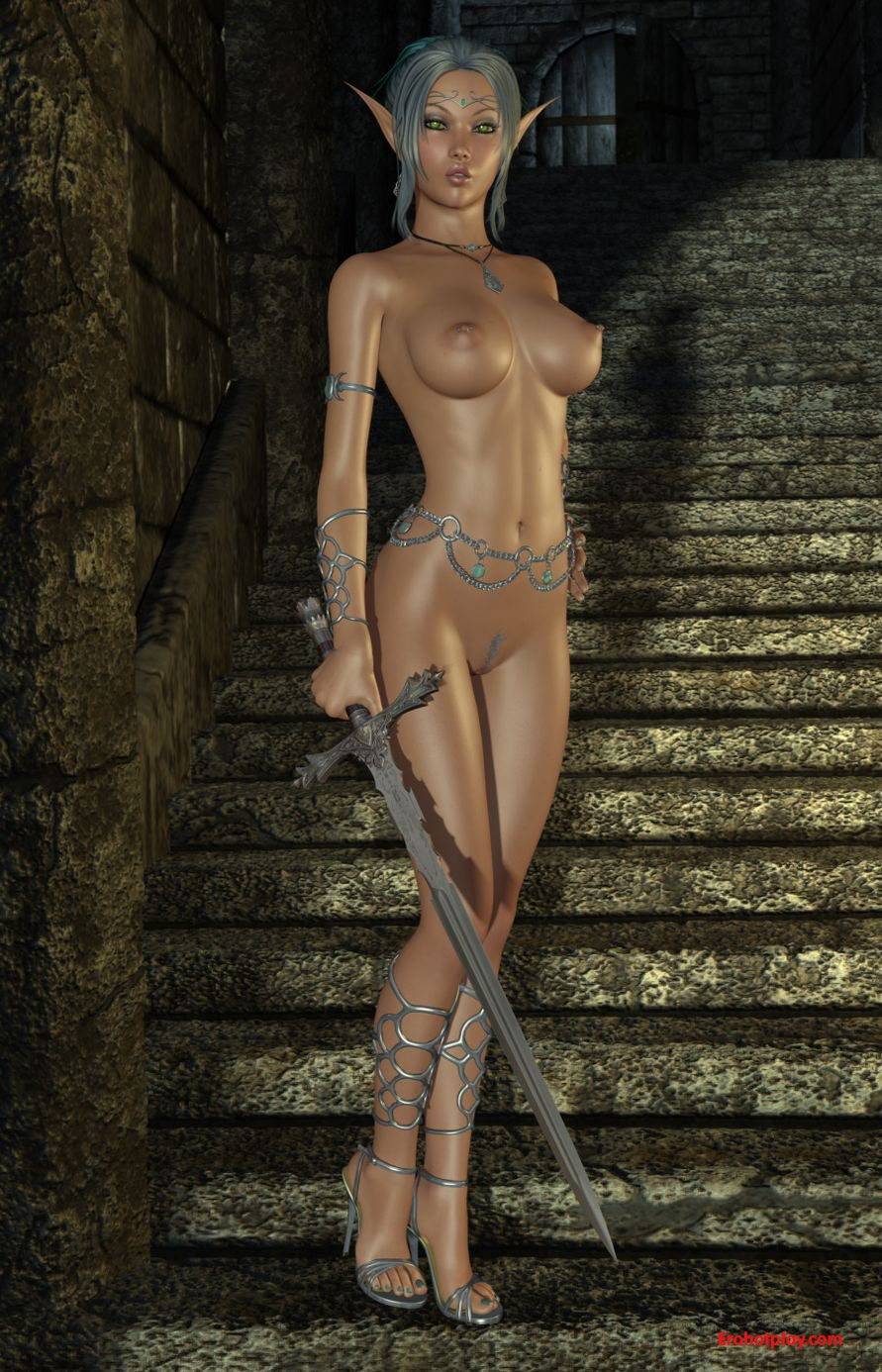 Sexy dark elf female nude nackt photo