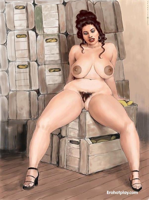 Порно рисунки полных дам
